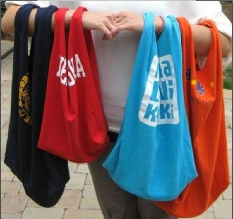 How to make reusable grocery bags from old t shirts for Reusable t shirt bags