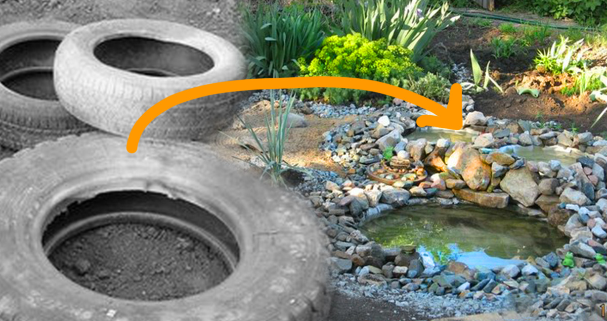She Took An Old Tire And Buried It In The Backyard. When She Was Done--A DIY Oasis!