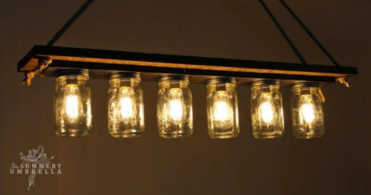mason jars barn wood rope old light fixture DIY kitchen