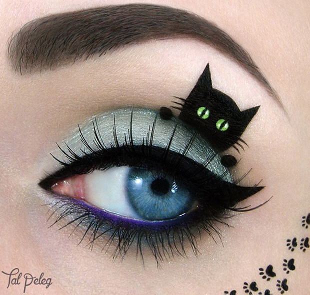 eye shadow art - tal peleg - allcreated - black cat