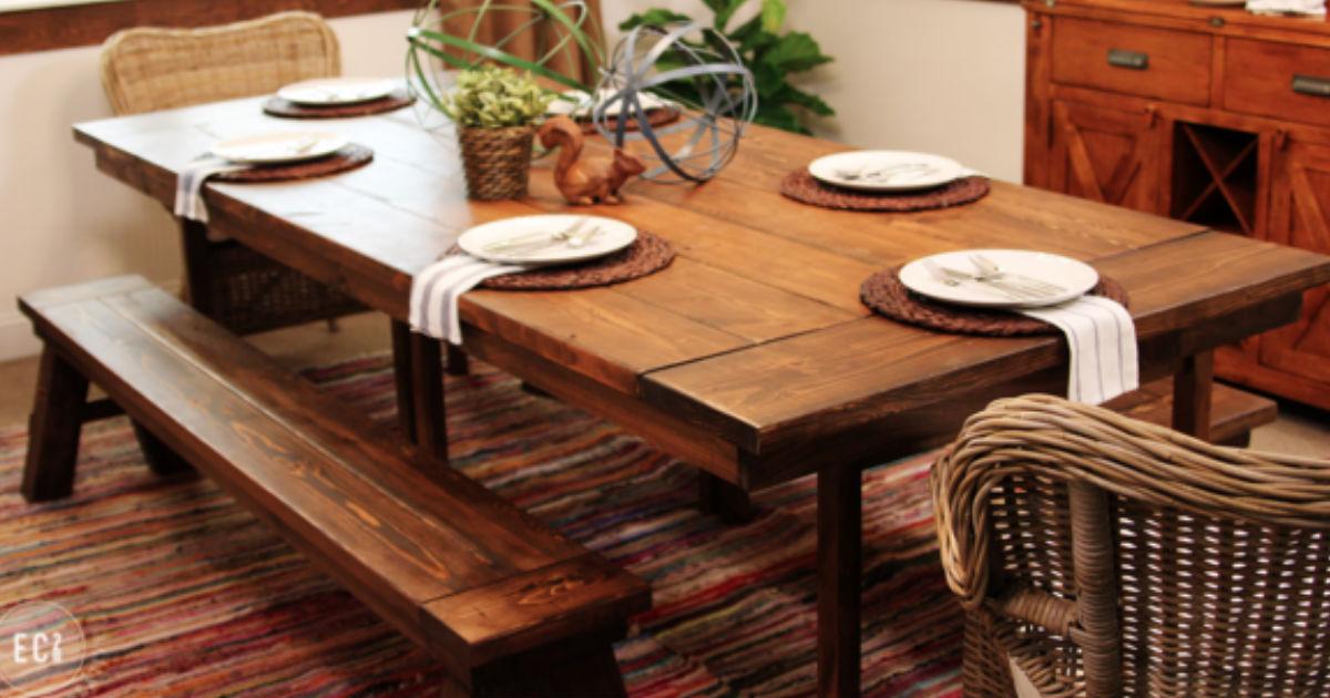 Diy farmhouse table ikea hack for Ikea farmhouse table hack