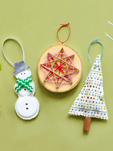 snowman starbursts and tree - Christmas Tree Ornaments To Make