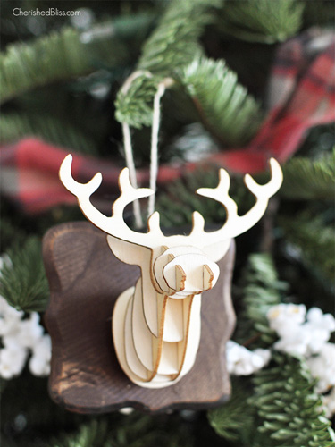 3d deer head ornament - Homemade Christmas Ornament Ideas
