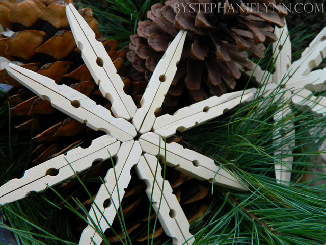snowflake clothespin ornament - Homemade Christmas Ornament Ideas