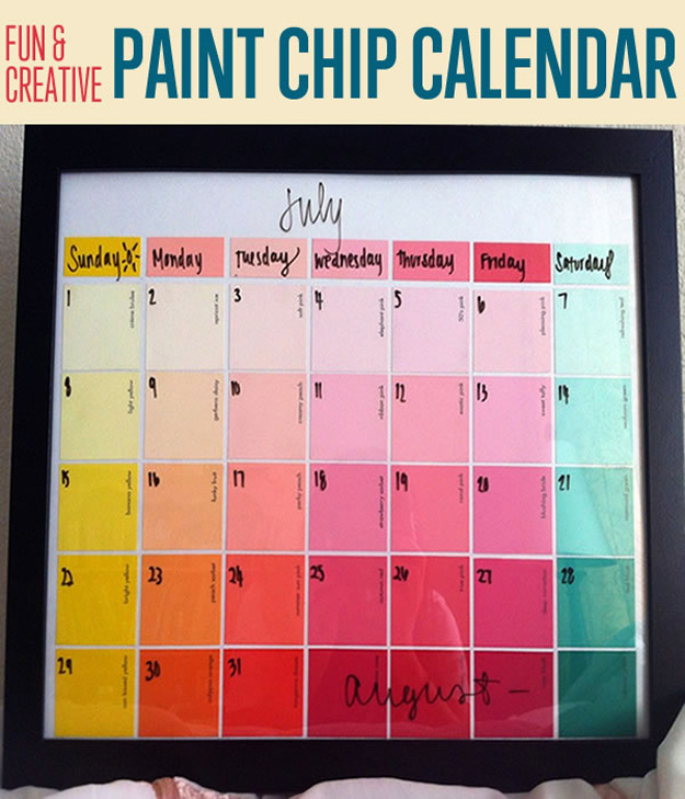 Creative Table Calendar Ideas : Diy paint chip calendar all created