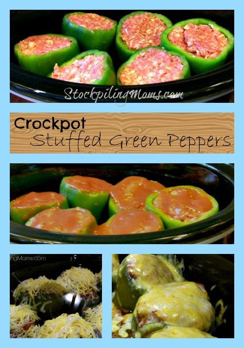 All Created - Easy Crockpot Stuffed Green Peppers