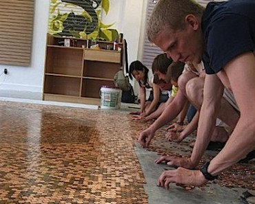 All Created - Copper Floor Made of Pennies
