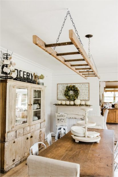 Old Ladder Hung From Dining Room Ceiling Makes A Dreamy