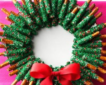 All Created - Holiday Chocolate Dipped Pretzel Wreath