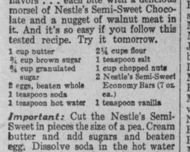 Toll House Cookie Secret Recipe