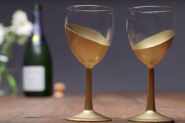 All Created - Gold Wine Glasses