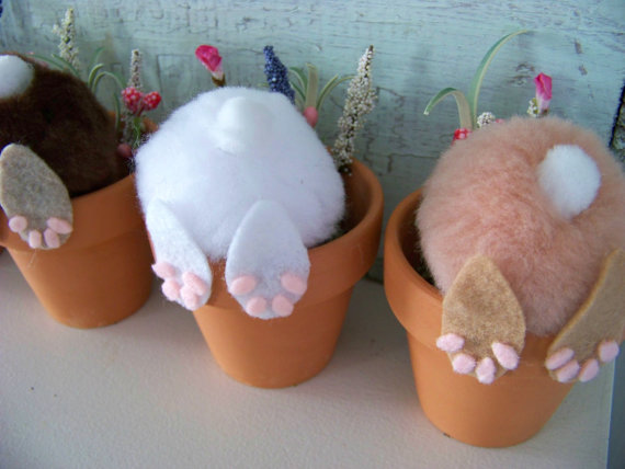 13 Cute And Thrifty DIY Easter Crafts For Your Home _ Bunny Bottom Pots _ all created