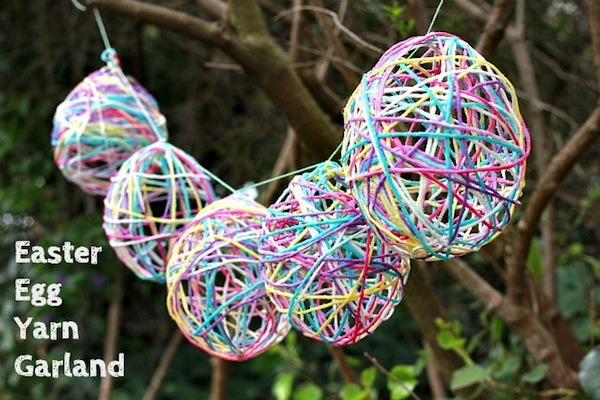 13 Cute And Thrifty DIY Easter Crafts For Your Home _ Mod Podge Egg Twine Garland _ all created