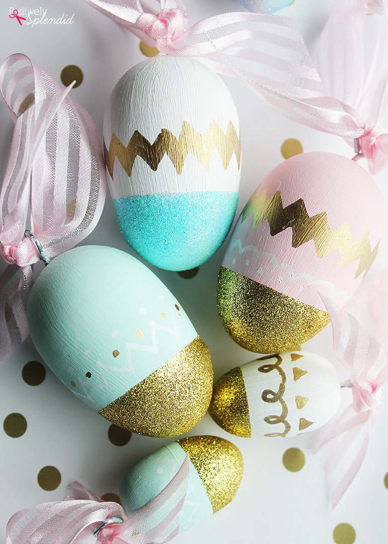 13 Cute And Thrifty DIY Easter Crafts For Your Home _ Glitter Eggs _ all created