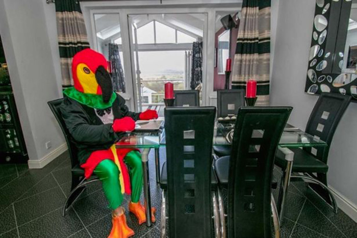 Man Dresses Up Like Parrot To Sell His House _ dinner _ all created