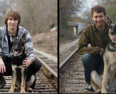 Dogs Recreated Photos _ German Shepherd and Man train tracks _ allcreated