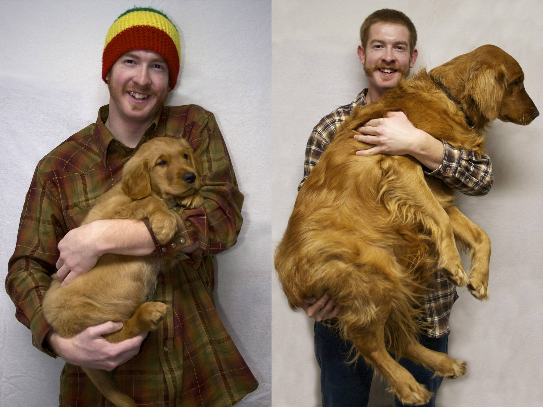 Dogs Recreated Photos _ Man Holding Dog _ allcreated