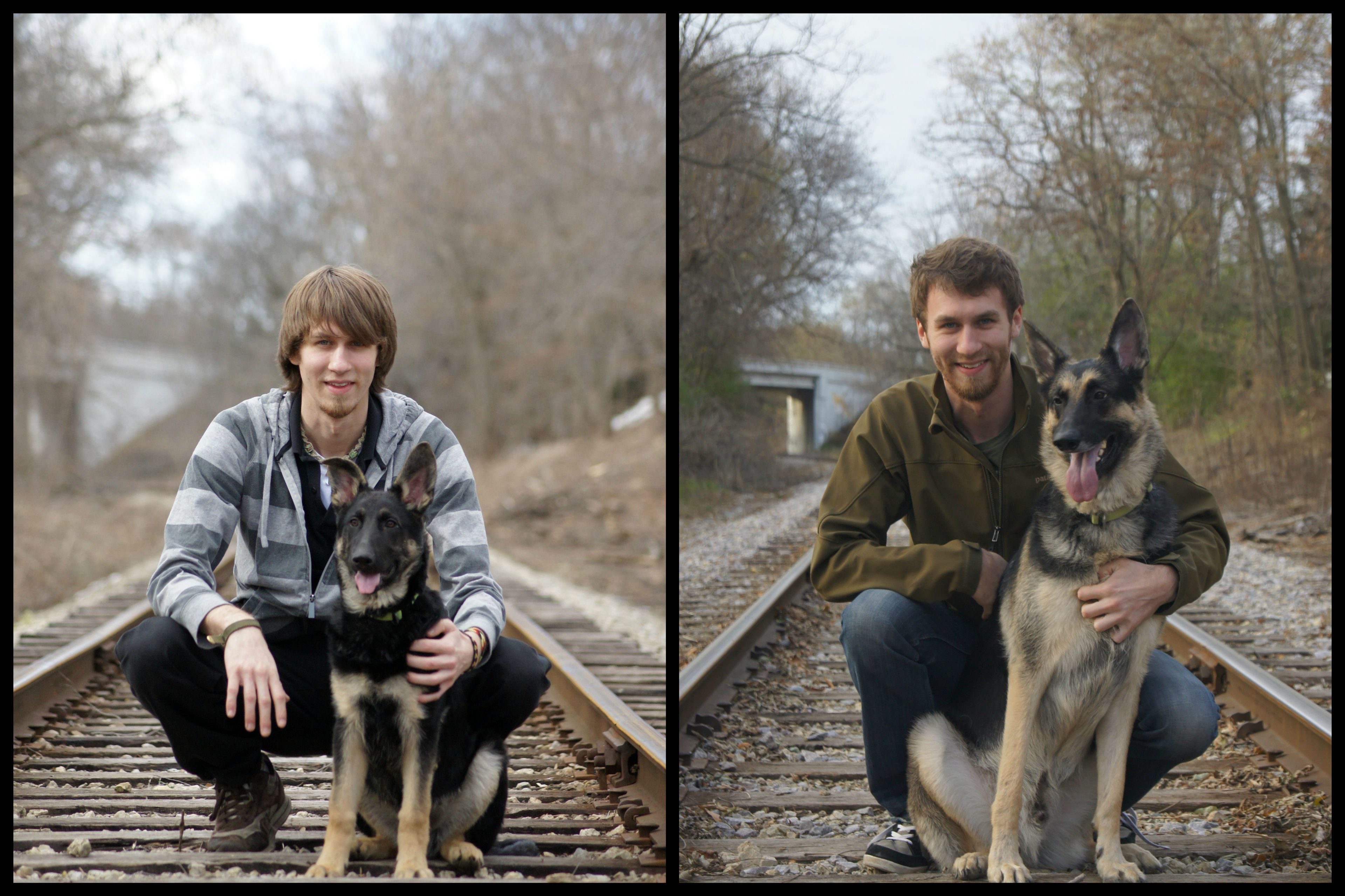 Dogs Recreated Photos _ German Shepherd and man train tracks _ allcreated