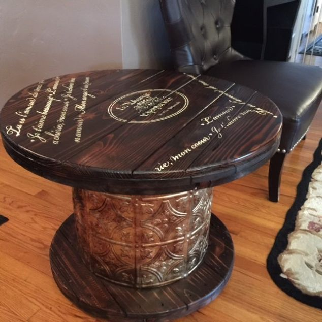 upcycled wooden cable spools _ ceiling tiles_end table_ allcreated
