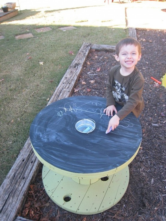 upcycled wooden cable spools _ kids chalkboard table_allcreated