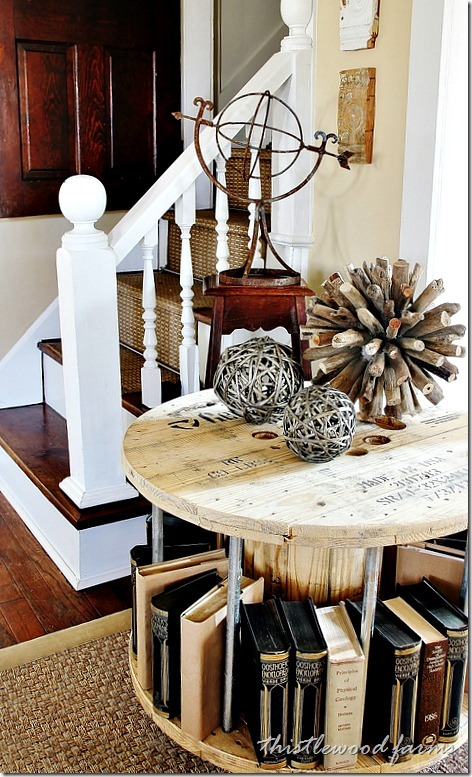 upcycled wooden cable spools_book_table_allcreated