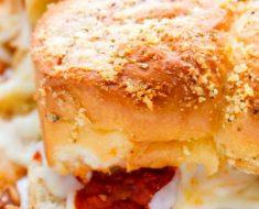 all created - cheesy garlic meatball sliders