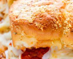 all created - cheesy garlic meatball sliders