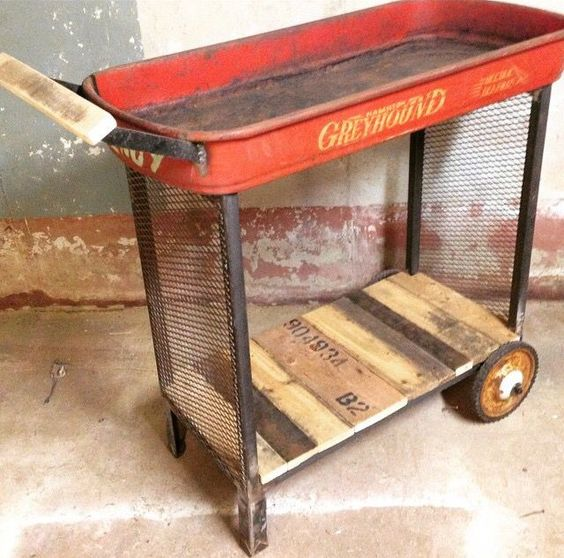 Upcycled Red Wagon Bar Cart - AllCreated