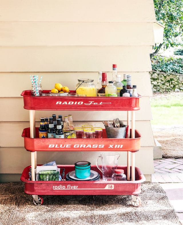 Upcycled Red Wagon Three level bar cart - AllCreated