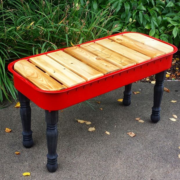 Upcycled Red Wagon Garden bench - AllCreated