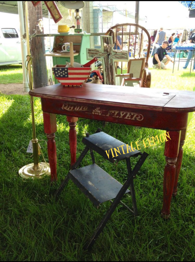 Upcycled Red Wagon Side Table Desk - AllCreated