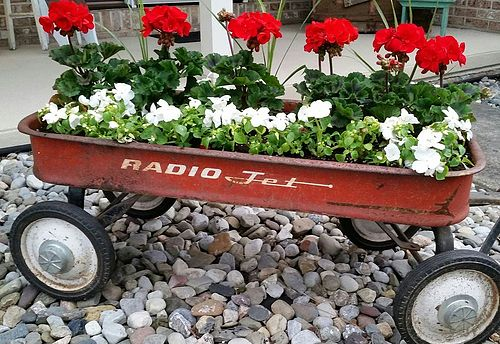 Upcycled Red Wagon Flower Planter - AllCreated