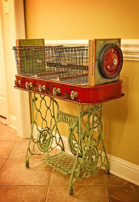 Upcycled Red Wagon Hallway Mudroom Organizer Sewing Machine bottom - AllCreated