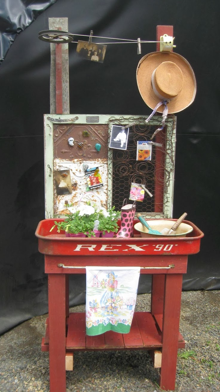 Upcycled Red Wagon Potters Table - AllCreated