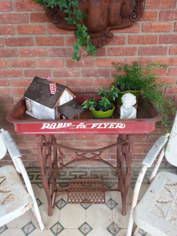 Upcycled Red Wagon Sewing machine table - AllCreated