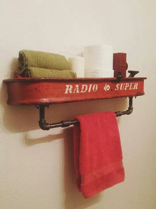 Upcycled Red Wagon Towel Rack Towel Bar - AllCreated