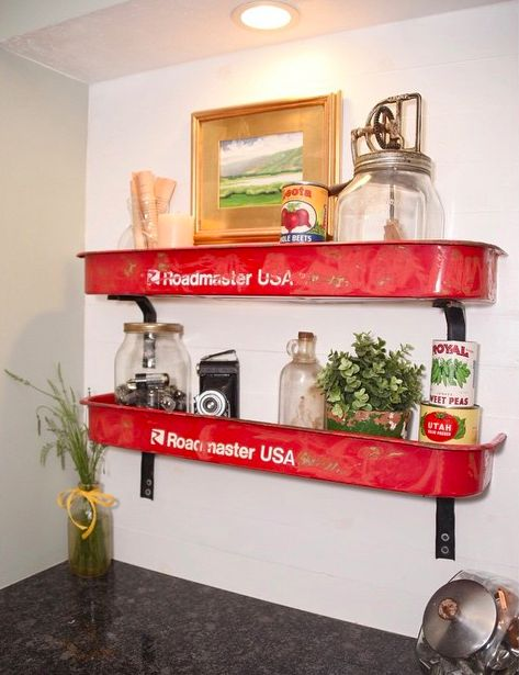 Upcycled Red Wagon Wall Shelves - AllCreated