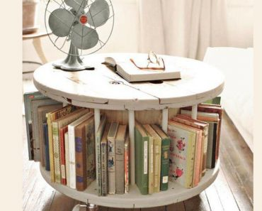 upcycled wooden cable spools _ book table_allcreated