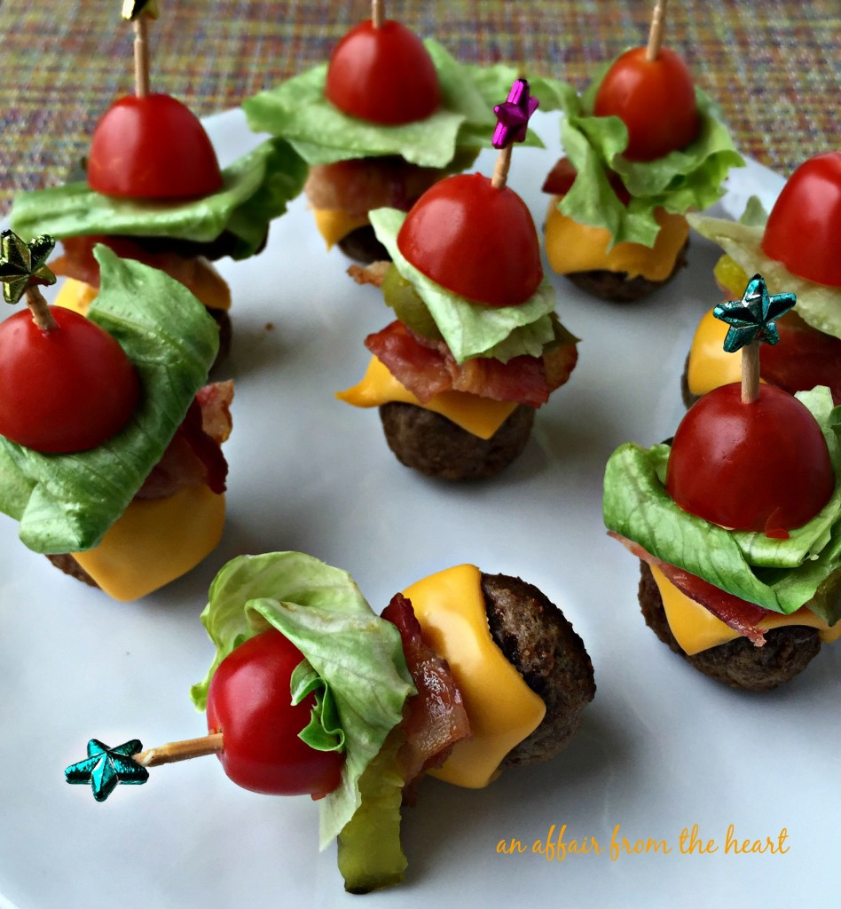 Bacon Cheeseburger Meatball Skewers _ all created