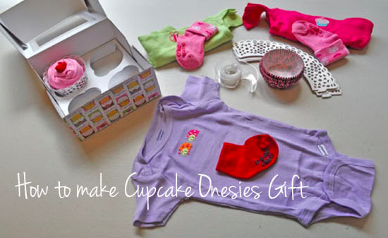 Cupcake Onesie Baby Shower Gift _ all created