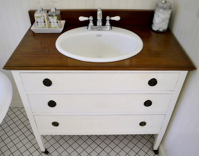 10 DIY Hacks to Give New Life to Old Furniture _ bathroom vanity sink _ all created