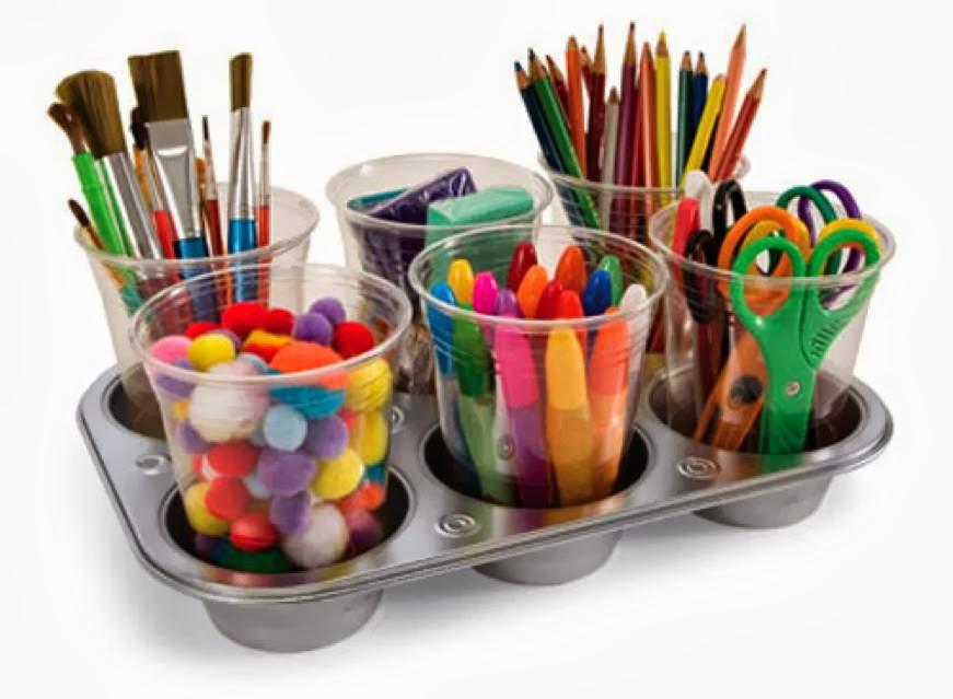 13 Brilliant Ways to Repurpose Your Ordinary Muffin Tin _ art supply organizer _ all created