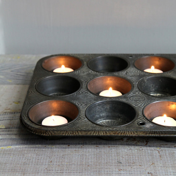 13 Brilliant Ways to Repurpose Your Ordinary Muffin Tin _ candle holder _ all created