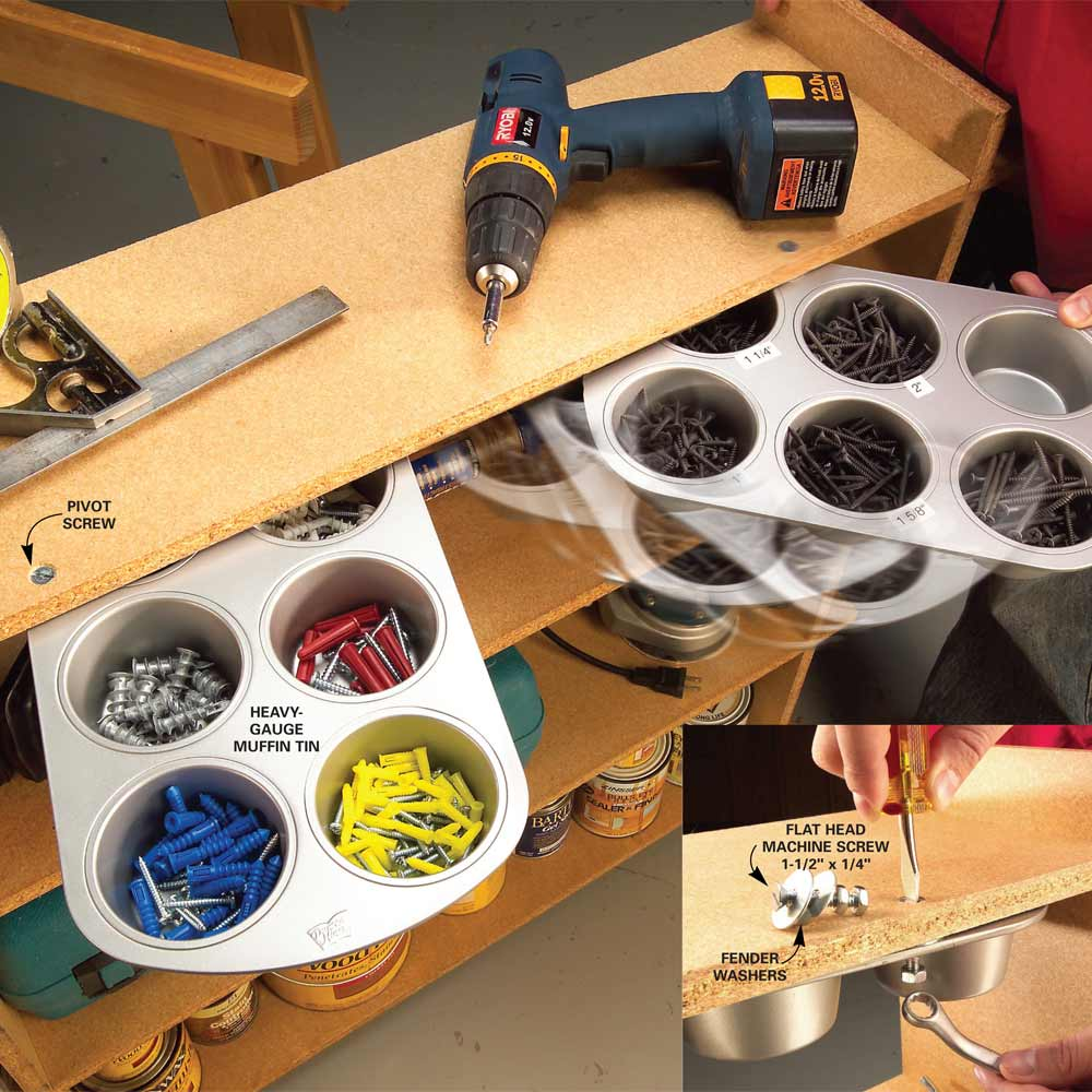 13 Brilliant Ways to Repurpose Your Ordinary Muffin Tin _ handyman helper organizer _ all created
