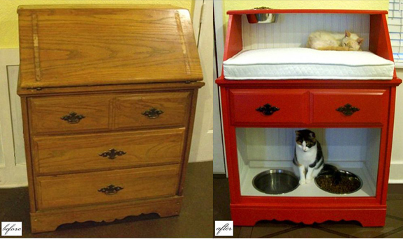 7 Creative Ways To Turn Old Furniture Into Adorable Pet Beds _ cat desk _ all created
