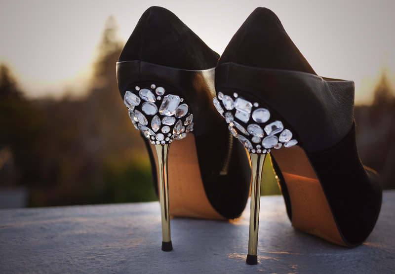 12 DIY to Make Your Beat-up Shoes Look Cool Again _ bejeweled heels _ all created
