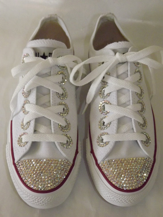 12 DIY to Make Your Beat-up Shoes Look Cool Again _ etsy bling sneakers _ all created