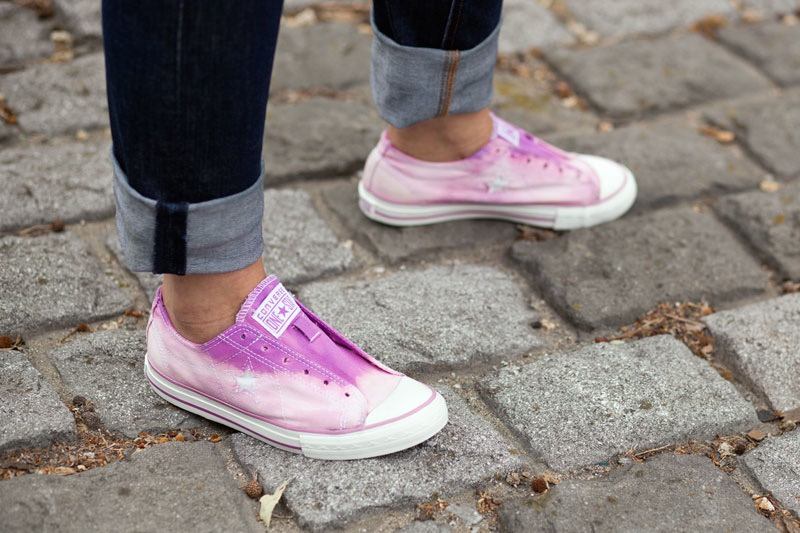 12 DIY to Make Your Beat-up Shoes Look Cool Again _ bleached ombre _ all created