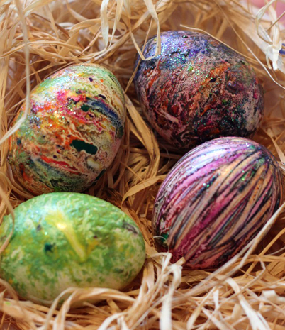 allcreated - melted crayon Easter eggs