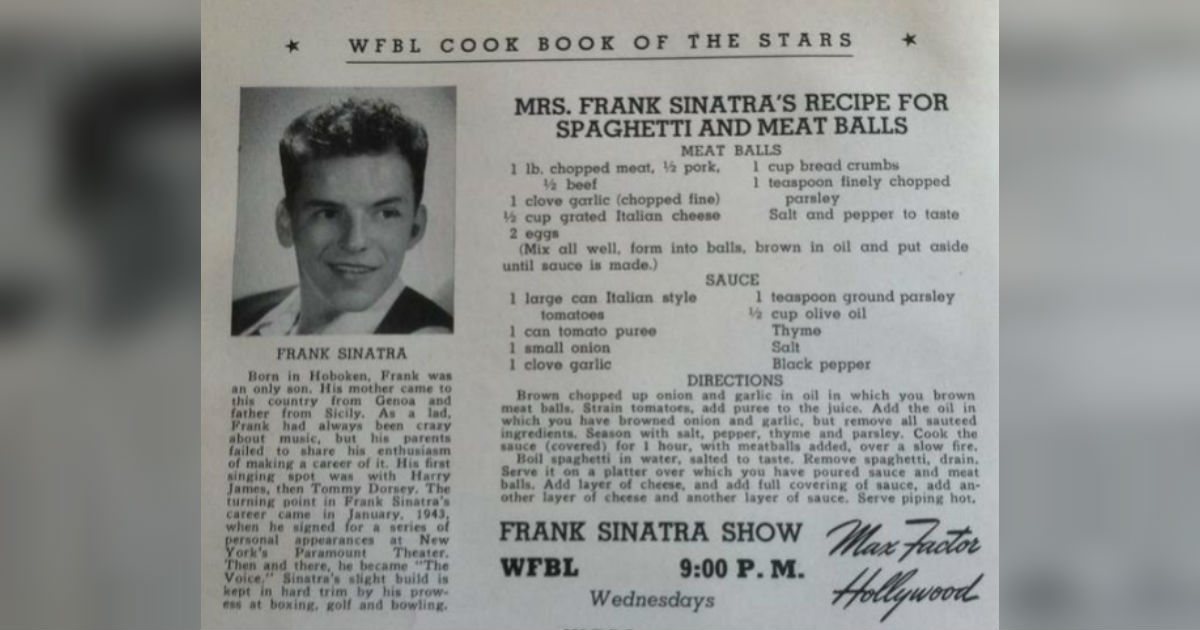 Frank Sinatra S Spaghetti And Meatballs Recipe Will Fly You To The Moon
